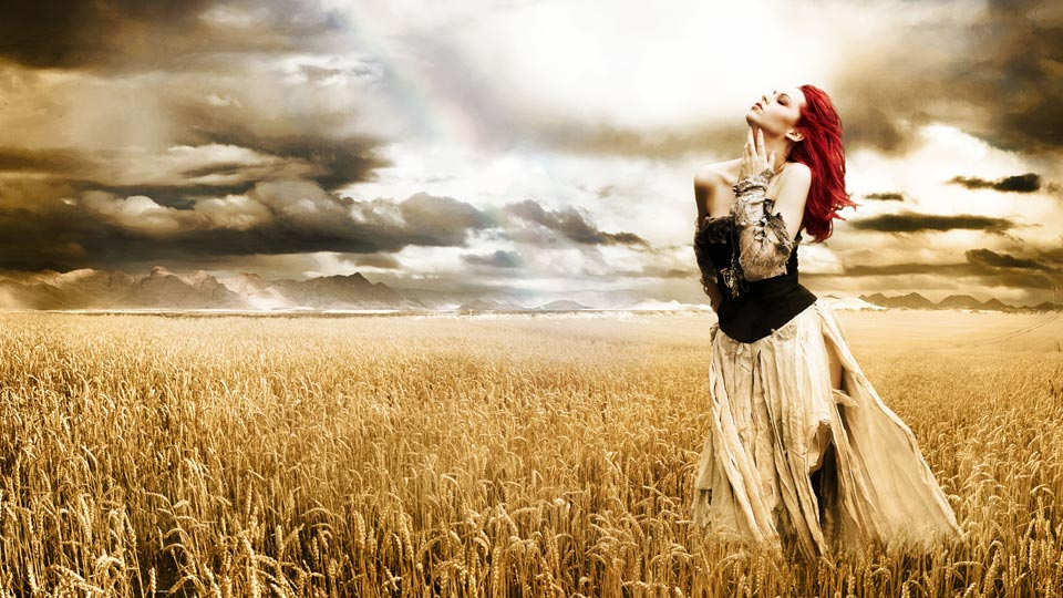 Photomontage of girl in a wheat field.