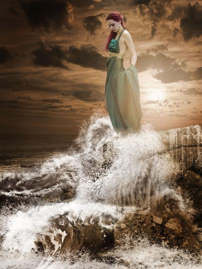 Siren, photomanipulation of girl on foreshore.